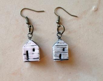 house bead, dangle earrings