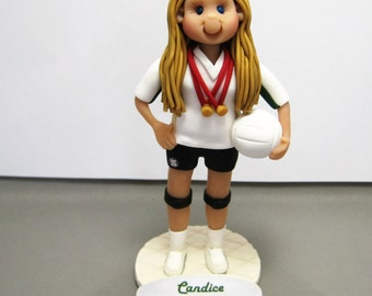 Volleyball Player Personalized Cake Topper Figurine Custom Made To Order