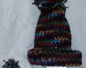 multi-colored knitted toddler cap with bob for toddler