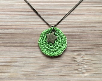 Gwen lime green crochet necklace with star