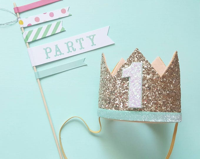 Birthday Crown || Peach, Mint and Gold Birthday || Gold Crown || Birthday Girl || First Birthday || Baby Crown || Birthday Girl