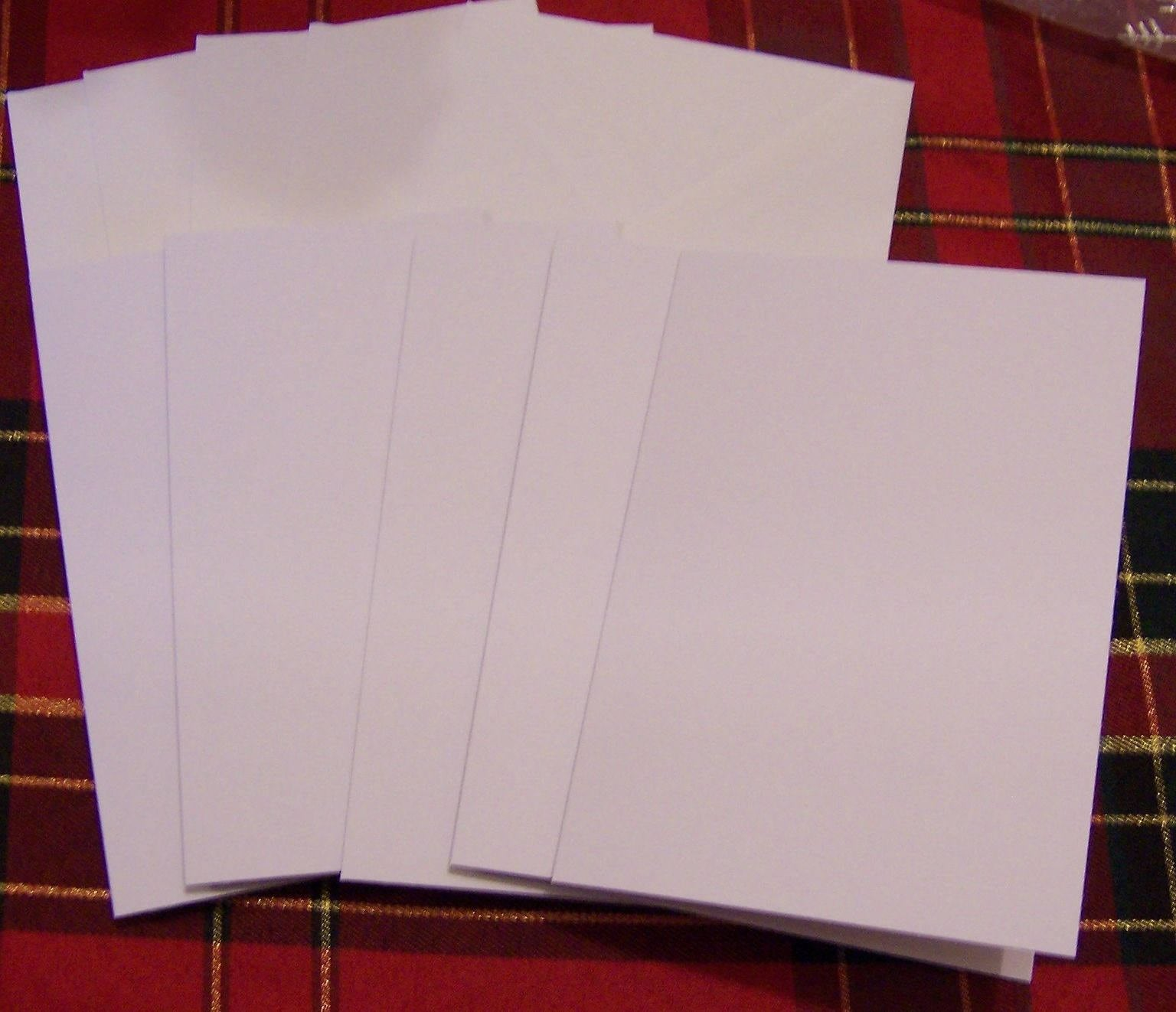 10 X A6 Single Fold Card Blanks White 6 X 4 With White