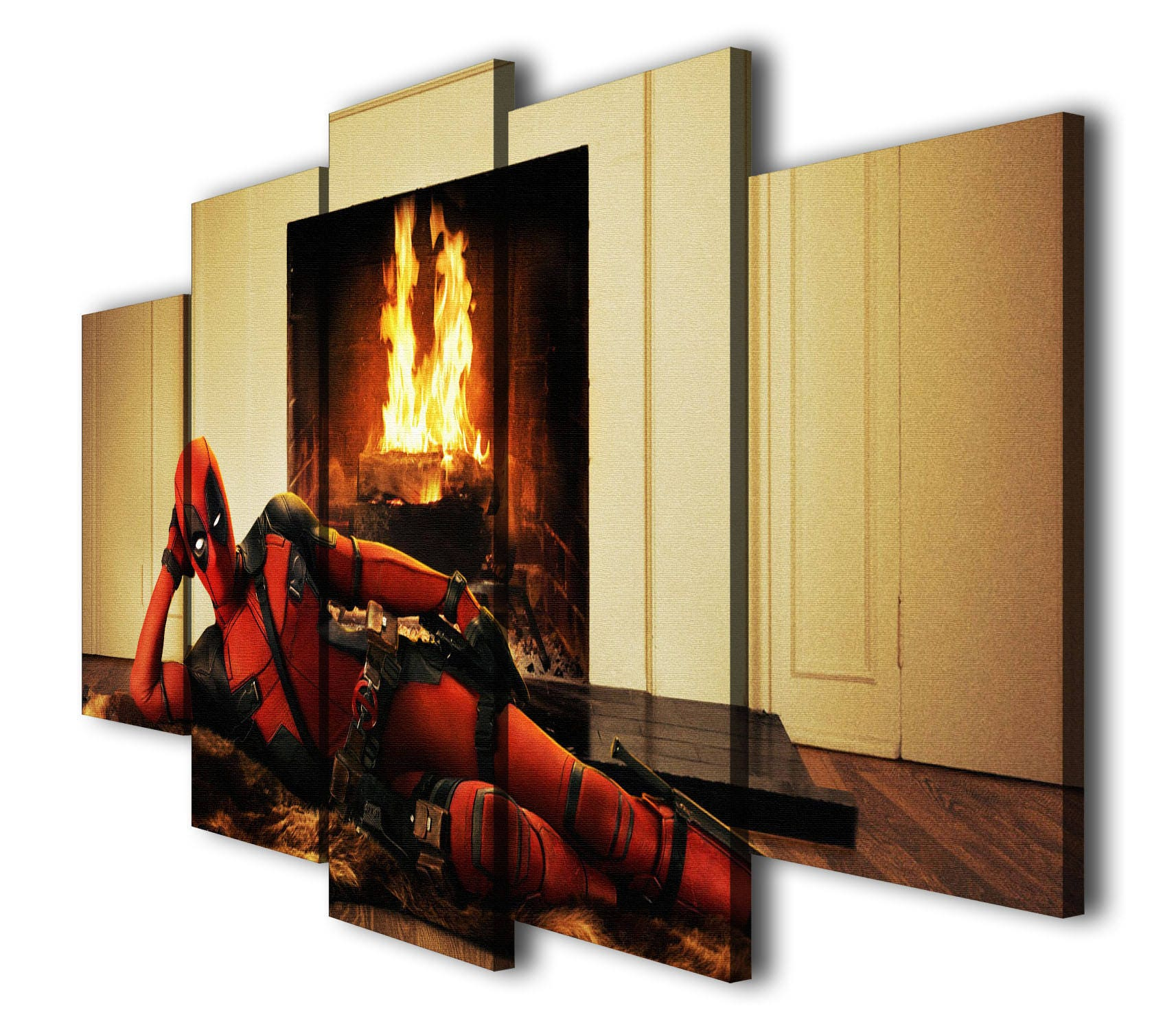 5 Panels Deadpool Painting Printed on Canvas Wall Art Picture