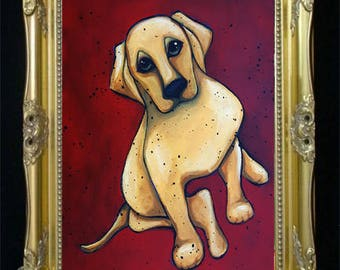 Yellow Lab Dog Art Print, Labrador Retriever, Pet Lovers Gift Idea for Her or Him, Entryway Decor, Modern Farmhouse, Fixer Upper Style Shano