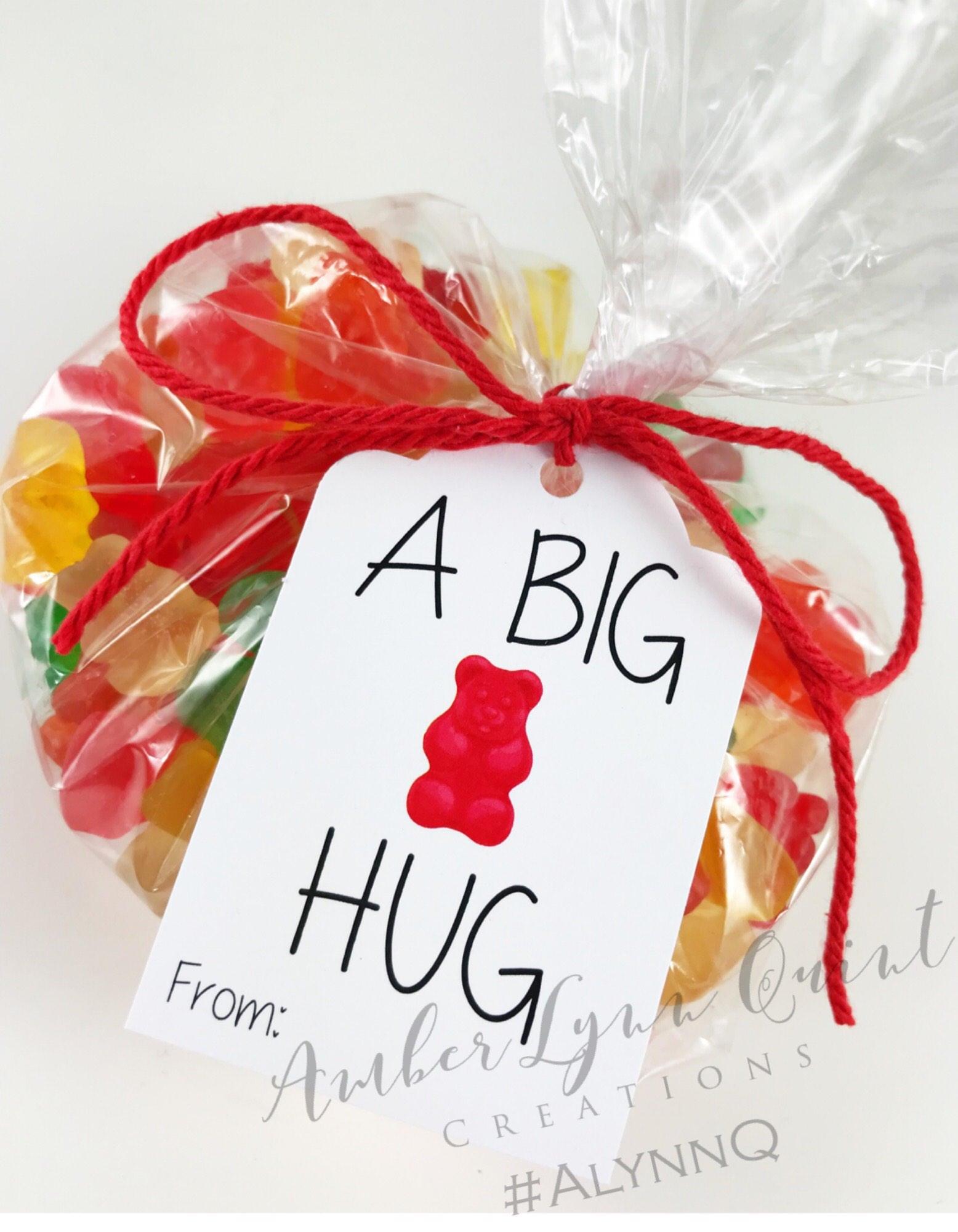 A Big Bear Hug Tag RED Valentines Day Birthday Favor