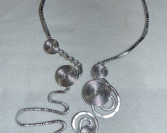 very large necklace aluminum hammered