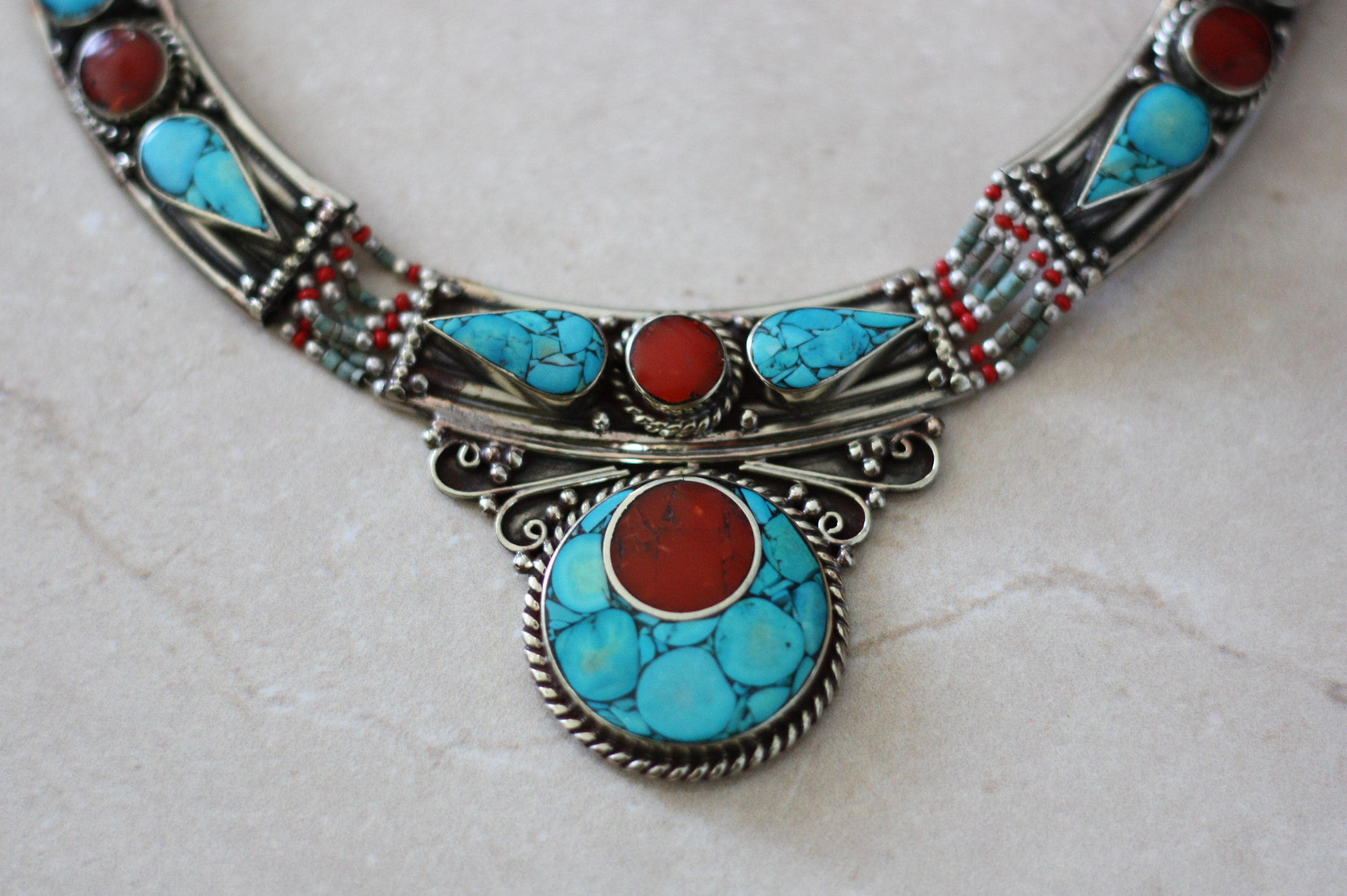 etsy found hey by necklace s listing ethnic really coral bellaemyjewels this at turquoise i awesome pin bead nepali
