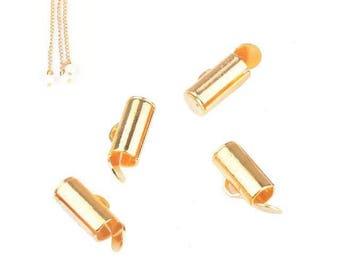 x 4 tubes 9 mm gold metal end caps.