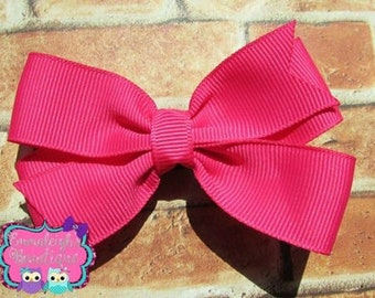 Hot Pink Pinwheel Single Hair Bow School Spirit Hair Bow Wedding Pinwheel Birthday Bow School Color Pinwheel Simple Hair Bow