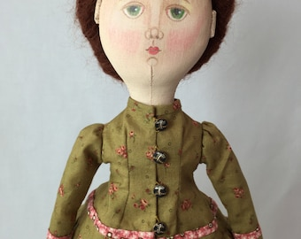 Lady Doll. Old Fashioned doll. Vintage style doll. Antique style doll. Artist Cloth doll. OOAK doll.