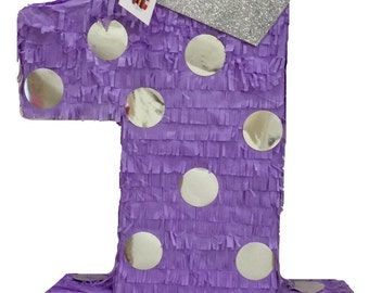Large Purple Number One Pinata with Crown First Birthday Pinata