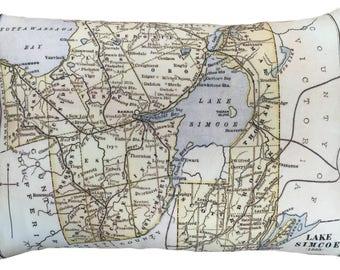 Lake Simcoe Vintage Map Pillow - FREE SHIPPING
