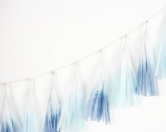 Dip Dye Tassel Garland - Oceana