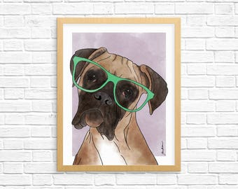 Dog Art Print, Boxer Art, Dog Lover Gift, Pet Portrait, Wall Art, Art Print, Dorm Decor, Home Decor, Nursery Art