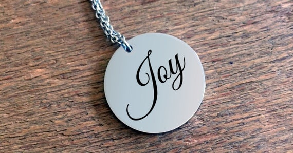 Positivity Jewelry  Joy laser engraved round pendant necklace  stainless steel  uplifting gift  affirmation
