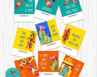 DIGITAL DOWNLOAD 12 step gifts, bookplate stickers, AA recovery gifts, bookplates ex libris, hope joy love, bookplate labels, book lover