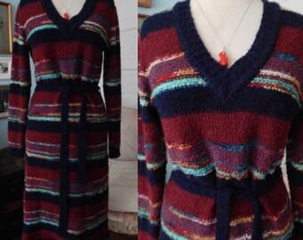 Vintage 1970's knit sweater dress space dye stripe chic city wear missoni look