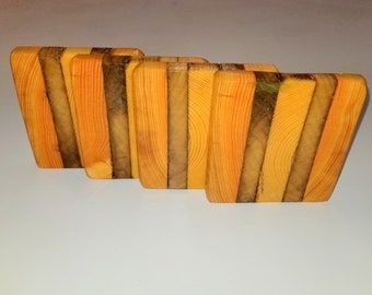 Reclaimed wood drink coasters. Set  of four.