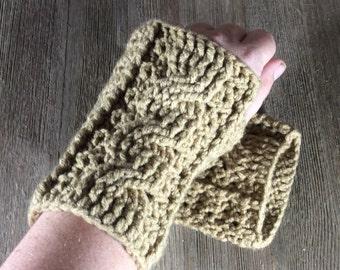 Cable Stitch Crochet Wrist Warmer Fingerless Gloves - Tan