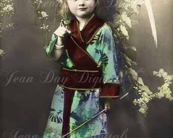 Katie in a Kimono - Japanese Screen - Antique Postcard 1906 - Photo Scan - Instant Digital Download  DP034