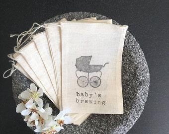 Baby shower muslin bag favor