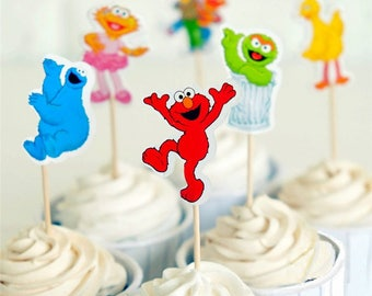 Sesame Street Cupcake Double-Sided Toppers/Food Picks Party Decorating Favor Set of 24,Perfect For Any Kids Party