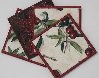 Olive coasters (set of 4 - burgundy trim)
