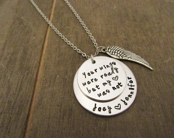 Your Wings Were Ready But My Heart Was Not Necklace - Child Loss Jewelry - Angel Wing Necklace - Personalized Gift