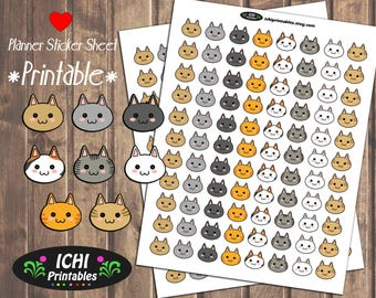 Cat Printable Planner Stickers, Cat Planner Stickers, Cat Face, Kitty Cat, Printable Stickers, Cat Lover, Cute Cat Stickers, Functional