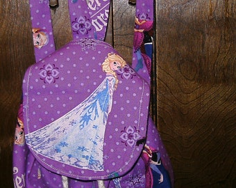 Custom Made Disney Frozen Backpack Drawstring Purse with Queen Elsa and Princess Anna (Elsa is on the Flap)
