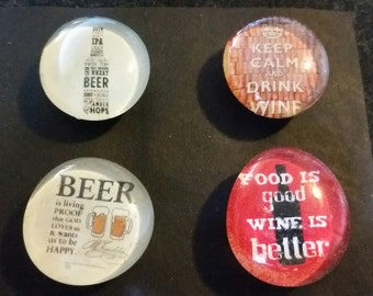 Set of 4 Strong magnets, Glass magnets, Beer and Wine Magnets, drinking, alcohol, adult magnets, gift, refrigerator magnets, kitchen decor