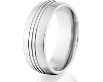 USA Made Cobalt Wedding Band, Brush Cobalt Ring, Cobalt Chrome Wedding Ring: CB-8HR3CG-B