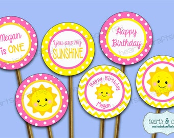 You Are My Sunshine Party Cupcakes - You Are My Sunshine Birthday Cupcake Toppers - Print Your Own FILE to PRINT DIY