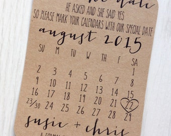 Save the date card - Rustic calendar save the date - Kraft save the date