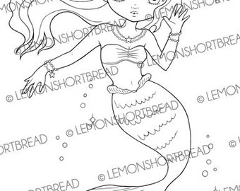 Digital Stamp Mermaid Waving, Digi Download, Fantasy Girl, Coloring Page Fairytales, Clip Art Graphic, Scrapbooking Supplies