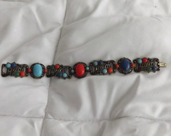 1920s New England Glass Works Blue Red Green Faux Coral Stone Bracelet