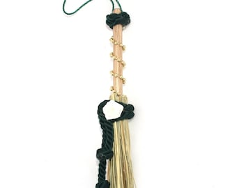 Mini Broom Ornament #10 with a White Flower