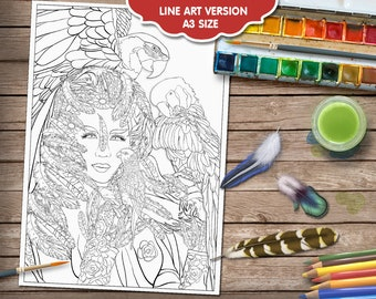 Avian Queen Adult Colouring Page - Fantasy Colouring Pages - Lesley Smitheringale - Fantasy and Fairytale Art - Line Art PDF - A3