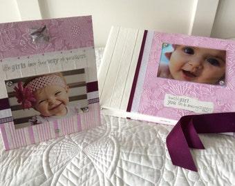 BABYBOOK, Girl, pinky-purple, Girly Girl, Baby MEMORY Book, Years 0-5, Scrapbook for Baby, Grandmother's gift, Baby Shower Gift, Baby Photos