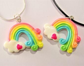 Cute Rainbow Necklace, Rainbow Pendant Charm, Harajuku Lolita inspired Rainbow Cloud Necklace