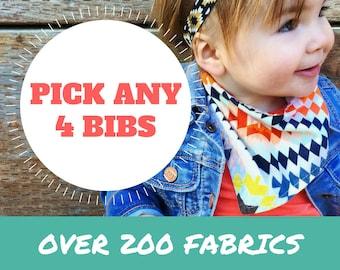 Baby Bandana Bibs - PICK ANY 4 | baby shower gift | bibdana | baby bandanas | bandana bib | baby bandana bib | baby bibdana | new baby gift