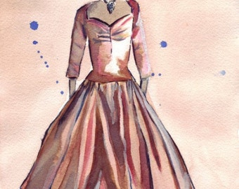 Watercolor Painting - Bronze Vintage Dress Watercolor Art Print, 8x10