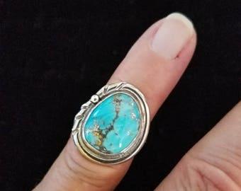 Special Sale Kingman Turquoise Custom Handmade Ring Blue Old Kingman Stock Reduced Price