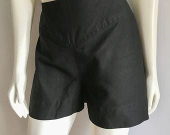 Vintage Women's 80's Black Shorts, Black, High Waisted (M)