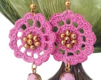 Crochet Earrings, Crochet Beaded Earrings, Motif Earrings, Drop Earrings, Pink Earrings, Summer Earrings, Pink and Gold Earrings