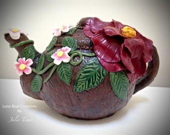 Polymer Clay Teapot Decorative Teapot,  Flower Teapot, OOAK Teapot, Handmade Gift, Home Decor