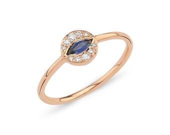 Evil Eye Ring, Sapphire Evil Eye Ring, Evil Eye Jewelry, Evil Eye Diamond Ring in 14k Gold, Rose Gold Evil Eye Ring, Stacking Ring, Dainty