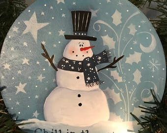 Chill Santa Ornament, Chill, Ornament, Snowman, Laurie Speltz, Christmas Tree, Christmas, free shipping