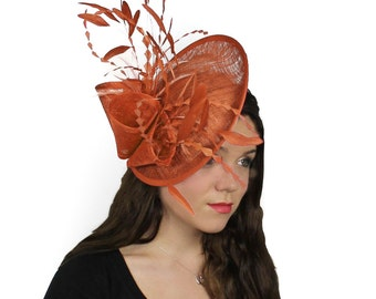 Orange Galina Fascinator Hat for Weddings, Races, and Special Events With Headband