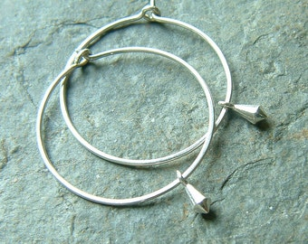 Silver Hoop Earrings, Lightweight Sterling Silver Hoops, Tiny Silver Dangle Earring, Modern Handmade Jewelry gift